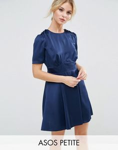 Buy it now. ASOS PETITE Short Sleeve Satin Tea Dress With Rouleau Buttons - Navy. Petite dress by ASOS PETITE, Soft-touch satin, Round neckline, Button shoulder detail, High-rise waist, Zip back, Regular fit - true to size, Machine wash, 100% Polyester, Our model wears a UK 8/EU 36/US 4. ABOUT ASOS PETITE 5�3�/1.60m and under? The London-based design team behind ASOS PETITE take all your fashion faves and cut them down to size. Say goodbye to all your short-girl problems with our perfectl...