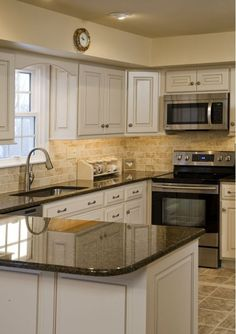 like it all cabinet color floor countertops backsplash off white kitchen