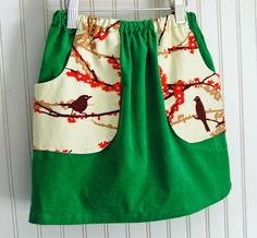 Green Corduroy Skirt with Bird Pockets {so cute!} by thetrendytot