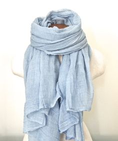 Light Blue Scarf Sky Blue Cotton Scarf Beach by TheChicArtisan