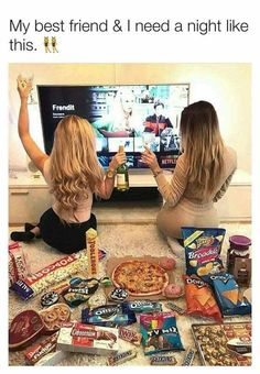Funny, movie, and who: tag a bff who needs a movie night like Photos Bff, Best Friend Photos, Best Friend Goals, Best Friend Dates, Fun Sleepover Ideas, Girl Sleepover, Tumblr Bff, Best Friend Bucket List, Cute Friend Pictures