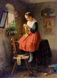 girl knitting - Johann Georg Meyer von Bremen art  - Johann Georg Meyer von Bremen (1813 – 1886 ), commonly known as Meyer von Bremen, was a German painter who specialized in Biblical, peasant, and family scenes.
