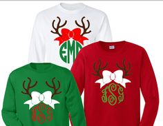 Adult long sleeve reindeer monogram shirt. Celebrate the season with a fun monogrammed shirt. RED GREEN WHITE  Chose from master circle and circle Christmas