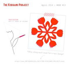 Omiyage Blogs: The Kirigami Project - Week 13 - Tulips / 6 point folding pattern