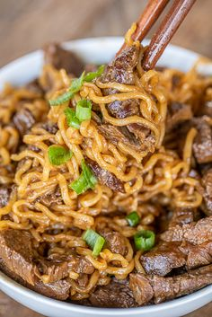 Spicy Steak Ramen Noodles ready to eat in under 15 minutes Only 7 ingredients Such a great weeknight meal Skirt steak hot sauce Worcestershire sauce garlic onion vinegar. Ramen Recipes, Spicy Recipes, Asian Recipes, Dinner Recipes, Cooking Recipes, Recipies, Asian Noodle Recipes, Cherry Recipes, Ramen Dishes