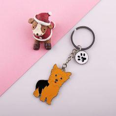 Dapat grosir BARU yorkshire terrier PET anjing gantungan kunci hadiah Keychain mobil Keychain pada tas rings untuk wanita keychain pada tombol