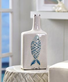 White Fish Graphic Ceramic Vase | zulily