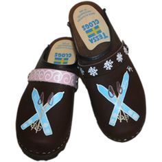 Brown Oil Blue Ski Clog, Snap Strap with your choice of Strap, Tessa Clog