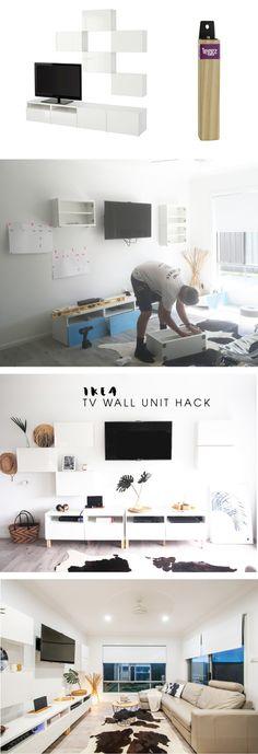 Monochrome Ikea Besta TV wall unit hack | TOMFO