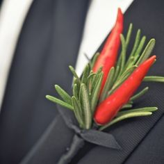 This dreamy Thompson Hotel wedding is right up my alley… gorgeous couple, edgy decor, boutonniere made of chilli peppers.