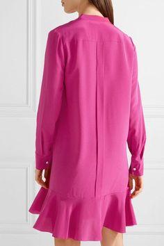 Tory Burch - Jane Ruffled Silk Crepe De Chine Dress - Magenta - US