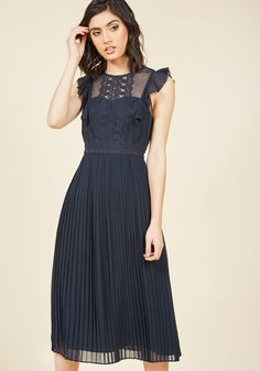 Ruffled in Florence Midi Dress in Midnight, #ModCloth