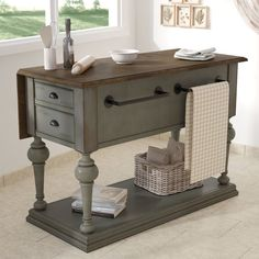 This Serpentaire Kitchen Island with Wood Top features unique turnings on legs and supports. This kitchen island has a 14 Cheap Furniture, Kitchen Furniture, Living Room Furniture, Furniture Stores, Furniture Dolly, Furniture Market, Furniture Companies, Discount Furniture, New Kitchen