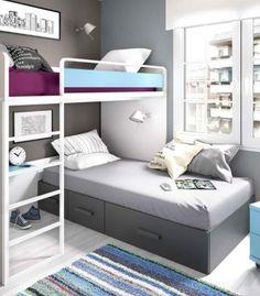 Optimiza el espacio a las habitaciones pequeñas. Literas modernas con gran funcionalidad en espacios reducidos. Entrega y montaje GRATIS.