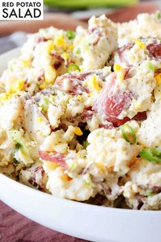 Red Potato Saladis side dish perfect for feeding a crowd! Red Potatoes are mixed with hard-boiled eggs, celery, and green onions, coated in a simple dressing of sour cream, mayonnaise, and dijon mustard, and finished off with a sprinkle of tangy dill. It's best served at BBQ's, potluck parties, and holiday gatherings! Best Potato Salad Recipe, Red Potato Recipes, Dill Recipes, Easy Salad Recipes, Cake Recipes, Loaded Potato Salad, Potato Salad Dill, Baby Potato Salad, Potato Salad Mayonnaise