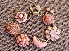 Coral Blush Vintage Earring Bracelet, Bridesmaid Gift, Pink Gold, Boho, Reclaimed, Upcycled, Under 40, Cluster, Shell, Jennifer Jones, OOAK by JenniferJonesJewelry on Etsy