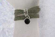 Wickelarmbänder - Armband Stoffgarn Wickelarmband Schiebeperle - ein Designerstück von trixies-zauberhafte-Welten bei DaWanda