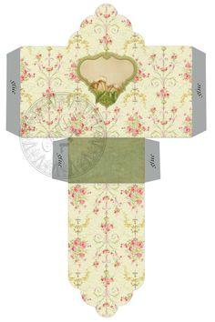 Printable Mini Gift Box - Vintage Flowers - Digital Image Sheet Download Box - Print and Cut. $2.50, via Etsy.