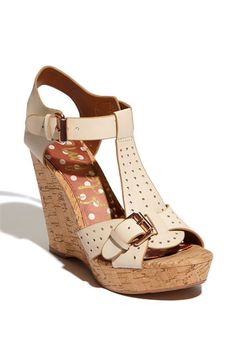 35480be39a03 Perforated leather Sam Edelman Karli wedge in pale ivory  150 Cute Sandals