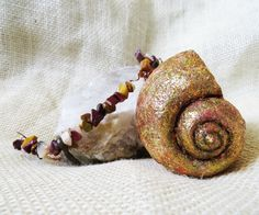Gold and Copper Snail Shell Necklace with Mookaite