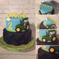 Tractor Birthday Invitations, Tractor Birthday Cakes, 3rd Birthday Cakes, Cars Cake Design, Cake Designs For Kids, Tractors For Kids, Bolo Mickey, Safari Cakes, Farm Cake