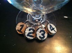 Numbered Burplap topped Cork Wine Charms Drink Rings Tags Upcycled and Repurposed
