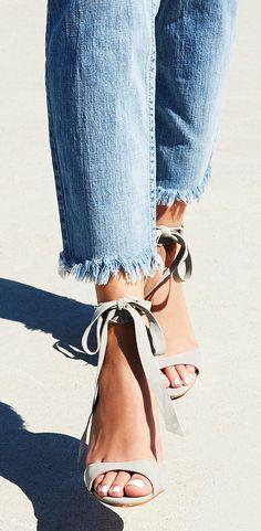 Suede ankle tie heels