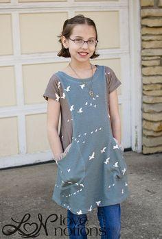 Love Notions Trendy Tunic pdf pattern for modern girls 2 4 6 8 10 12 14