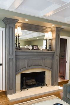 46 Stunning Rustic Living Room Design interior room design design ideas house design decorating before and after Grey Fireplace, Fireplace Surrounds, Fireplace Design, Fireplace Mantels, Fireplace Ideas, Bedroom Fireplace, Prefab Fireplace, Fireplace Molding, Fireplace Makeovers