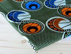 Orange Blue Black White African wax print fabric by SuomiiFabrics, €6.80