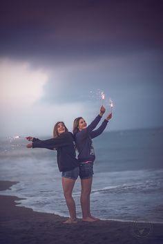Wild teens on beach