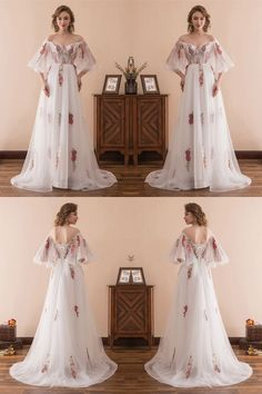 Fairy Tale Off The Shoulder Puffy Prom Dress With Color Embroidery#promdress#dress#dresses
