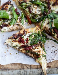 Spring Time Mushroom + Asparagus White Burrata Cheese Pizza with Balsamic Drizzle |
