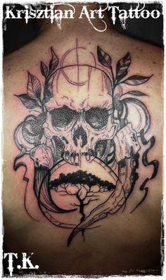 Krisztian Art Tattoo - Skull and tree back tattoo