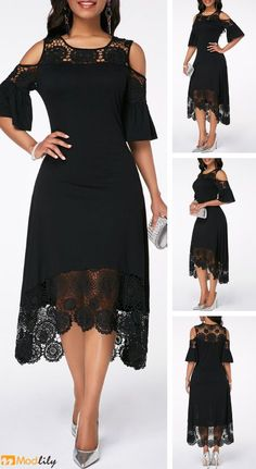 Cold Shoulder Flare Sleeve Crochet Detail Dress, worldwide and easy returns,