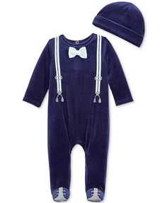 First Impressions Baby Boys' 2-Pc. Velour Hat & Tuxedo Footed Coverall Set, Only at Macy's | macys.com