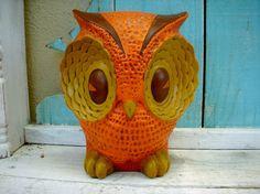 Vintage 70's Retro and Large Ceramic Owl