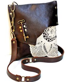 Brown Leather Boho Messenger Bag with Crochet Doily and Antique Key - Medium One Of A Kind - MADE TO ORDER. $230.00, via Etsy.