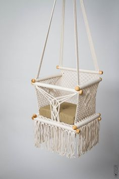 Baby Furniture – Baby Swing Chair in Macrame. PREORDER – a unique product by HangAhammock on DaWanda Baby Hammock, Baby Swings, Hammock Chair, Swinging Chair, Chair Cushions, Chair Swing, Rattan Chairs, Hammock Swing, Desk Chairs