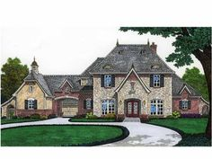 French country house with a porte cochere!