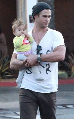 Thor is even hotter carrying a baby! | Chris Hemsworth