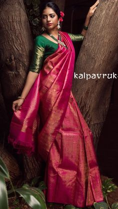 Over - Kanjivaram / Saree Store: Fashion Wedding Saree Blouse Designs, Pattu Saree Blouse Designs, Half Saree Designs, Blouse Designs Silk, Blouse Patterns, Bridal Sarees South Indian, Bridal Silk Saree, Kanjivaram Sarees Silk, Indian Silk Sarees