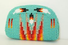 Indian handmade hand beaded coin purse. Fall colors, turquoise, fall, autumn, pumpkin spice, october, pouch, zipper, orange, red.