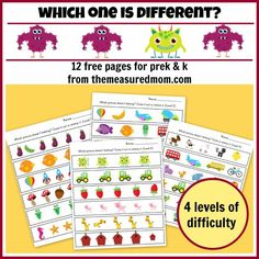 Which one is different?  FREE visual discrimination worksheets in 4 levels of difficulty!