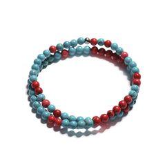 Náramek - Wrap Náramek Micro Tyrkys A červený Korál Beaded Necklace, Beaded Bracelets, Jewelry, Beaded Collar, Jewlery, Pearl Necklace, Jewerly, Pearl Bracelets, Schmuck