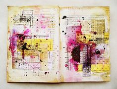 "Art-journal page inspired by ""Breath me"" song, by czekoczyna #beautiful #art #colorful"