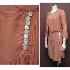 Vintage Late jaren 1920 Persimmon zijden Chiffon jurk en jas SZ S