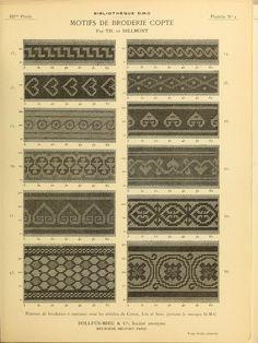 Motifs de broderie copte - Dillmont - 1900 - found via Archive.org - texts