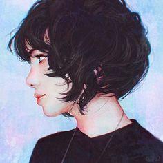 Curly short hair study~~   #bobcut #girl #portrait #digitalpainting