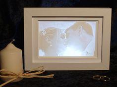 Hochzeitsfoto als Lithophanie 15x10cm nach eigenem Motiv für Fenster, © Lithophanie24